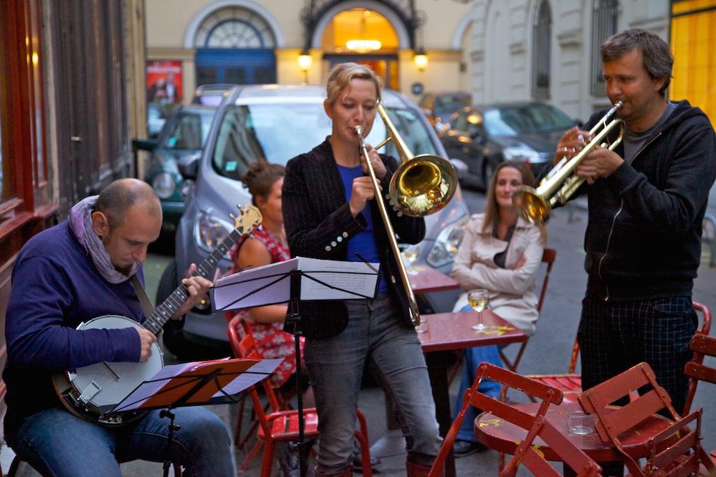 Street trio in Paris.