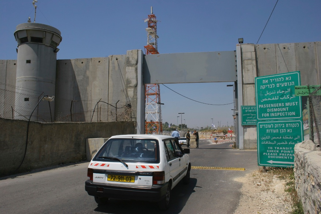 A checkpoint in the wall erected between Israel and Palestine's West Bank.