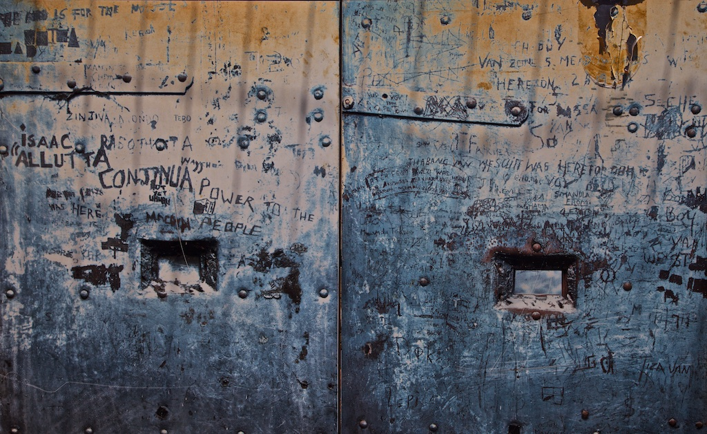 Messages from prisoners who couldn't leave the prison on Constitutional Hill, Johannesburg, until apartheid came to an end.