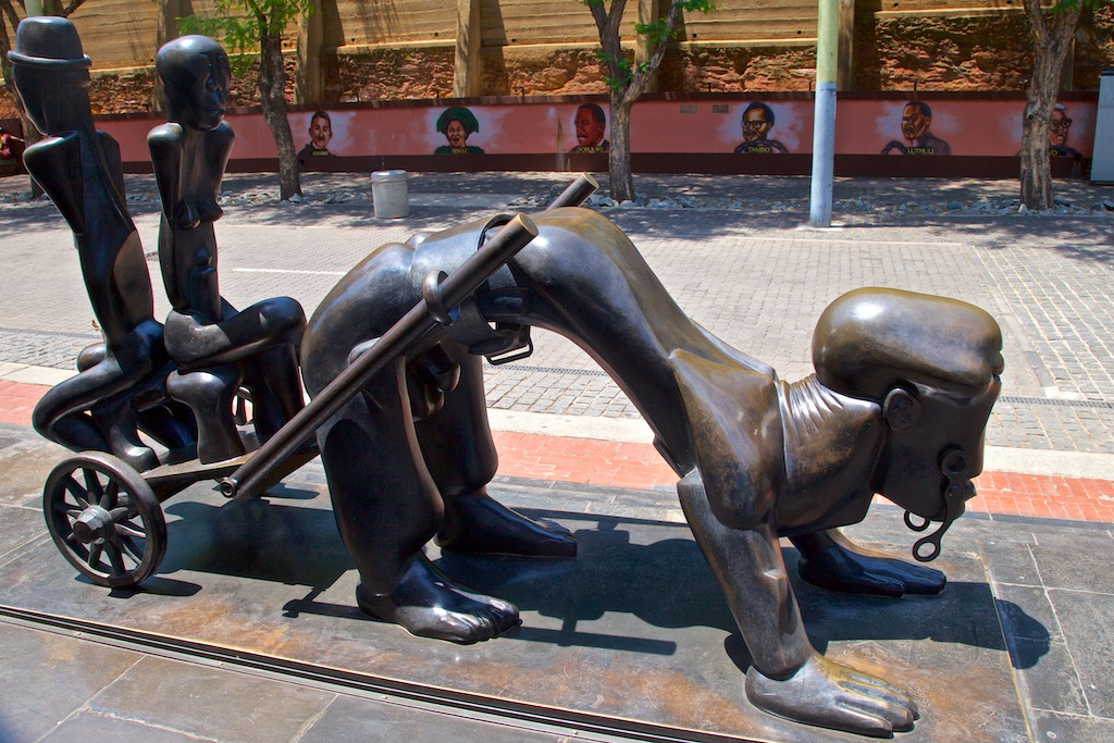 Sculpture outside the Old Fort Prison on Constitutional Hill, Johannesburg, South Africa