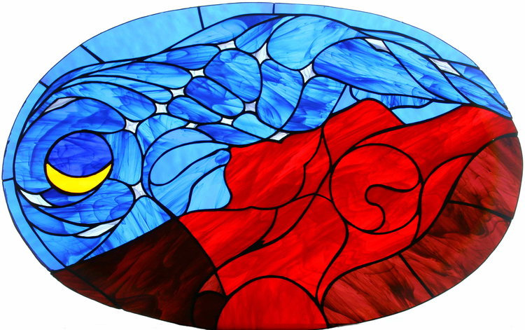 Night Descends on Mother Earth (stained glass)