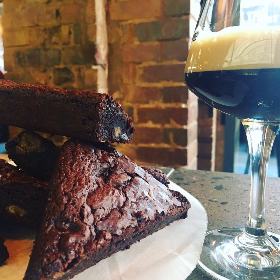 Brownies on the bar in Brewdog. Great with a beer!