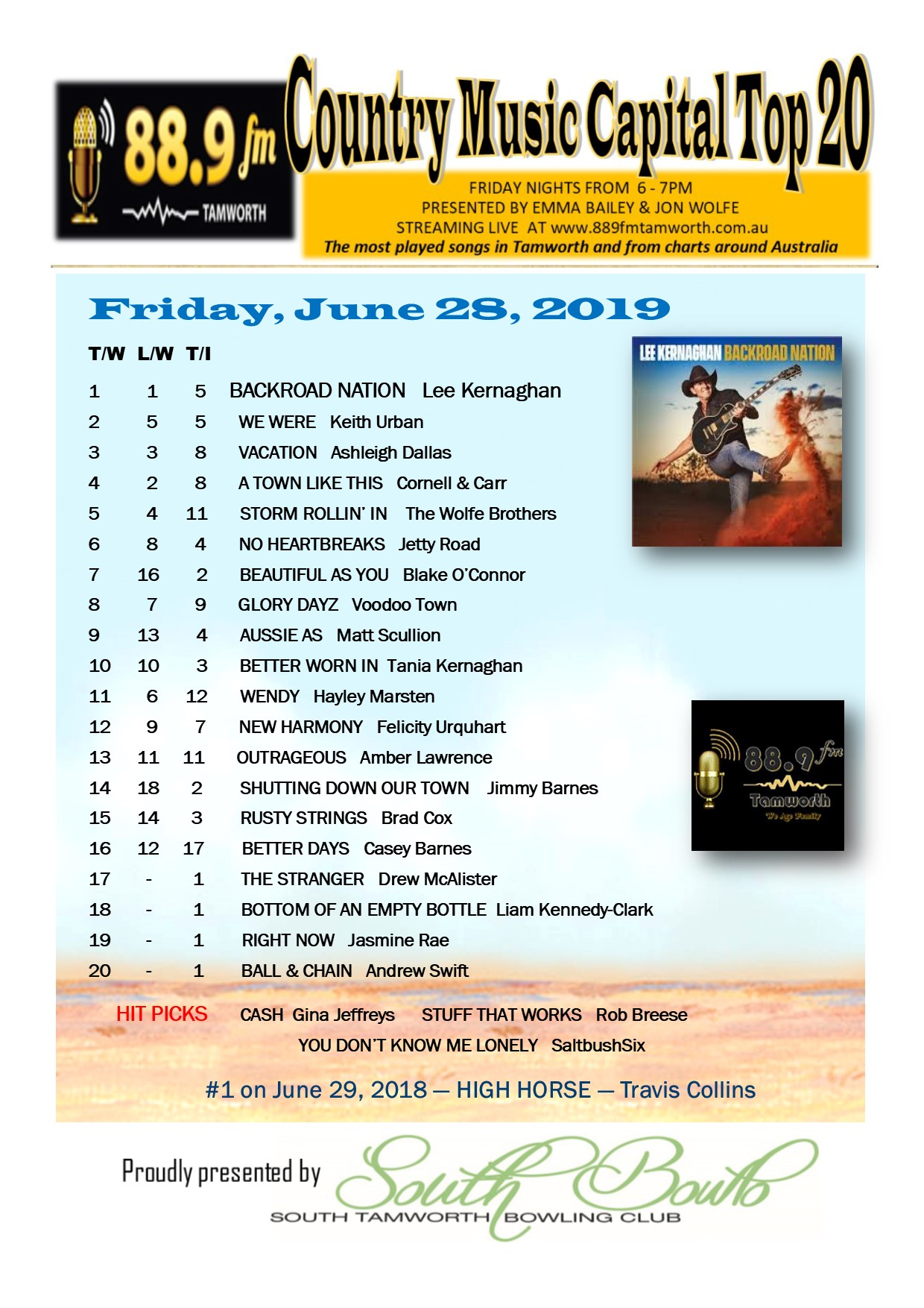 Country Top 20 >> Country Music Capital Top 20 June 28 88 9fm Tamworth