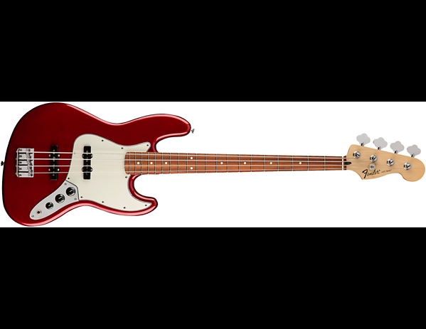 Fender Jazz Bass with a polyurethane Candy Apple Red finish.
