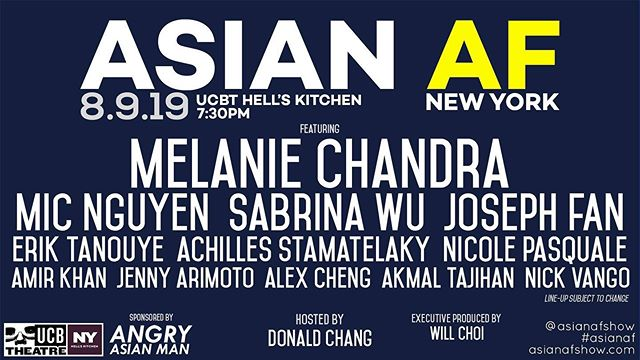 This show is great and I'm excited to be a part of it tonight! Tix on sale. Come on out! @ucbtny @asianafshow @donaldkchang