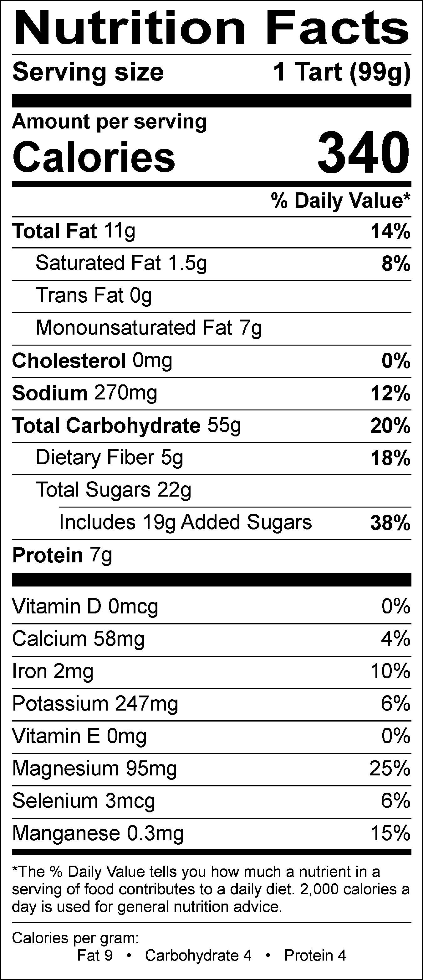 Simply Crumb Tart Nutritional label 2018.jpg