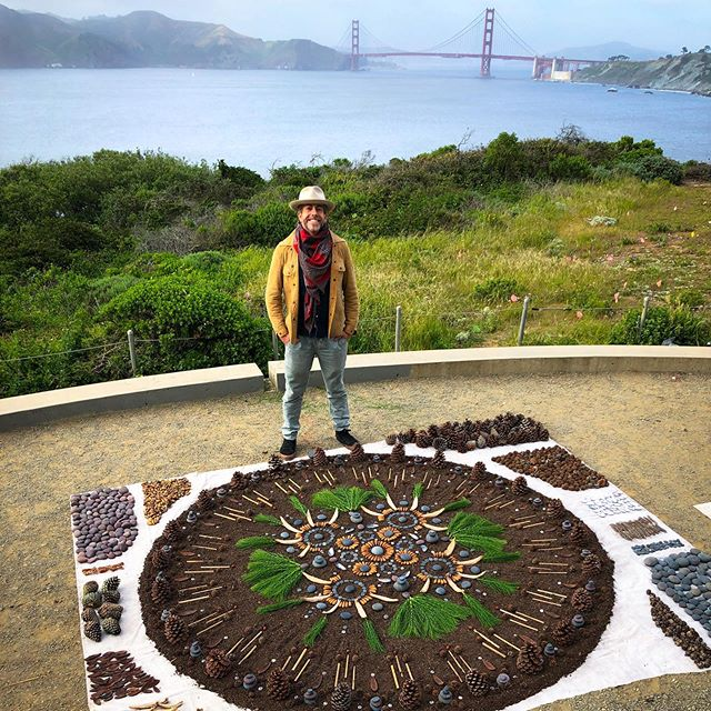 Thank you @letsreimagine for the commission to build this Grief Altar in the Presidio, SF overlooking the Golden Gate Bridge. 🏵 Each person who attended painted a rock with a memory of someone dear to them who had died. Those rocks and stories were ritually placed on the altar to keep those memories alive. 🏵 The altar is made from acorns, river rock, silk tree shells, eucalyptus buttons, horsetail, pine cone and reeds collected from the Bay. Destroyed by the wind and me. 🏵 Grateful to Nathan, Jeff and Natanya for your assistance. To Jane for her rock ritual. And Brad and the Reimagine End of Life team for believing in the power of impermanent earth art.