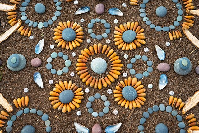 Loving these cool stone blues and sun-ripe orange acorns. . . Built on the edge where the land meets the bay.