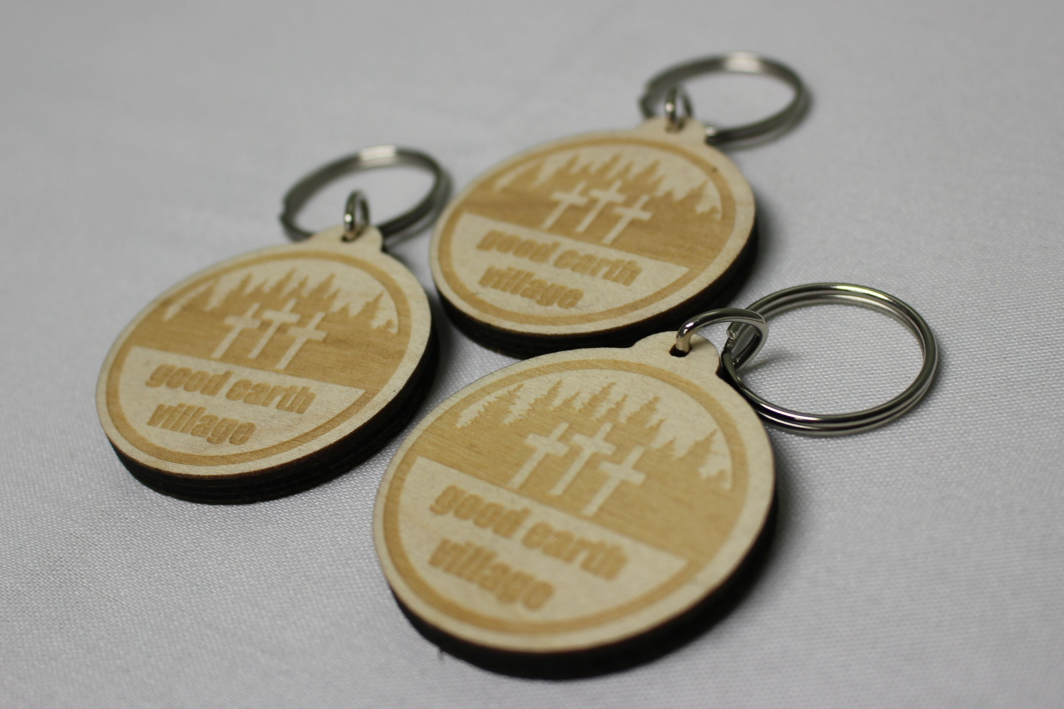 Item:  3 Crosses Laser Etched Wooden Key Chain   Price:  $7