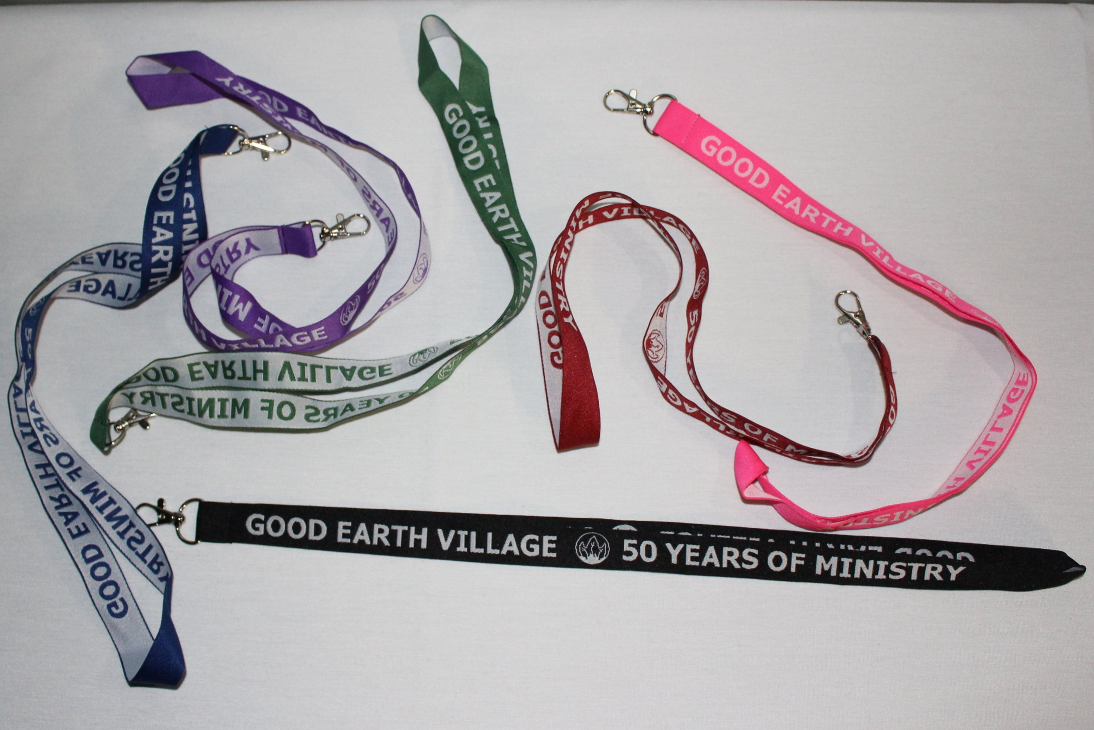 Item:  50 Years of Ministry Woven Lanyards  Colors:  Black, Navy, Green, Red, Purple, Hot Pink  Price:  $5