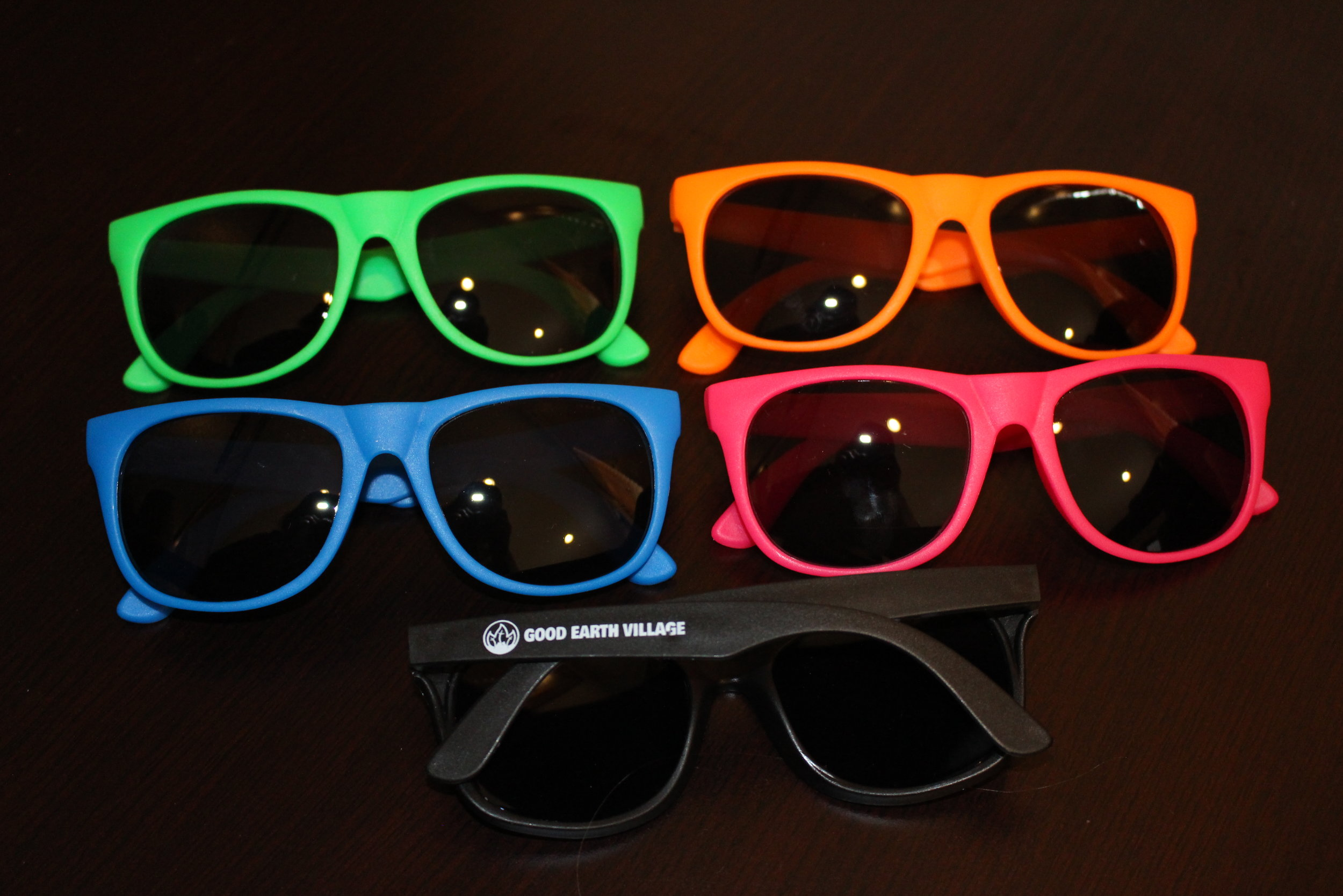 Item:  Rubberized Sunglasses  Colors:  Green, Orange, Blue, Pink, Black  Price:  $5