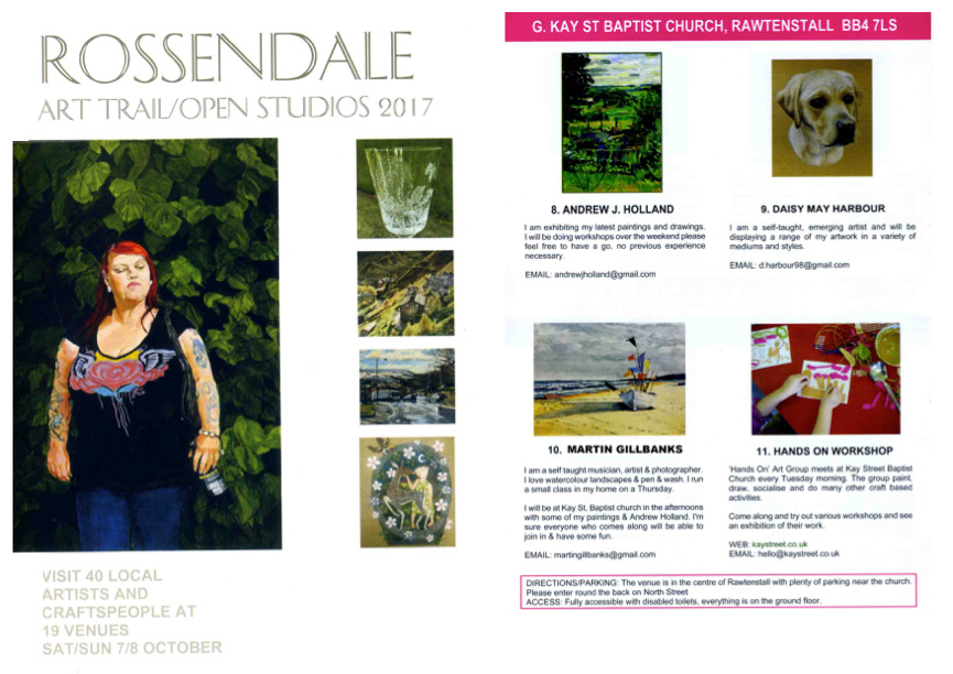 Starting from the weekend of 7th October, the Rossendale Art Trail is a unique annual event were artists in the local area open up their studios to the public.