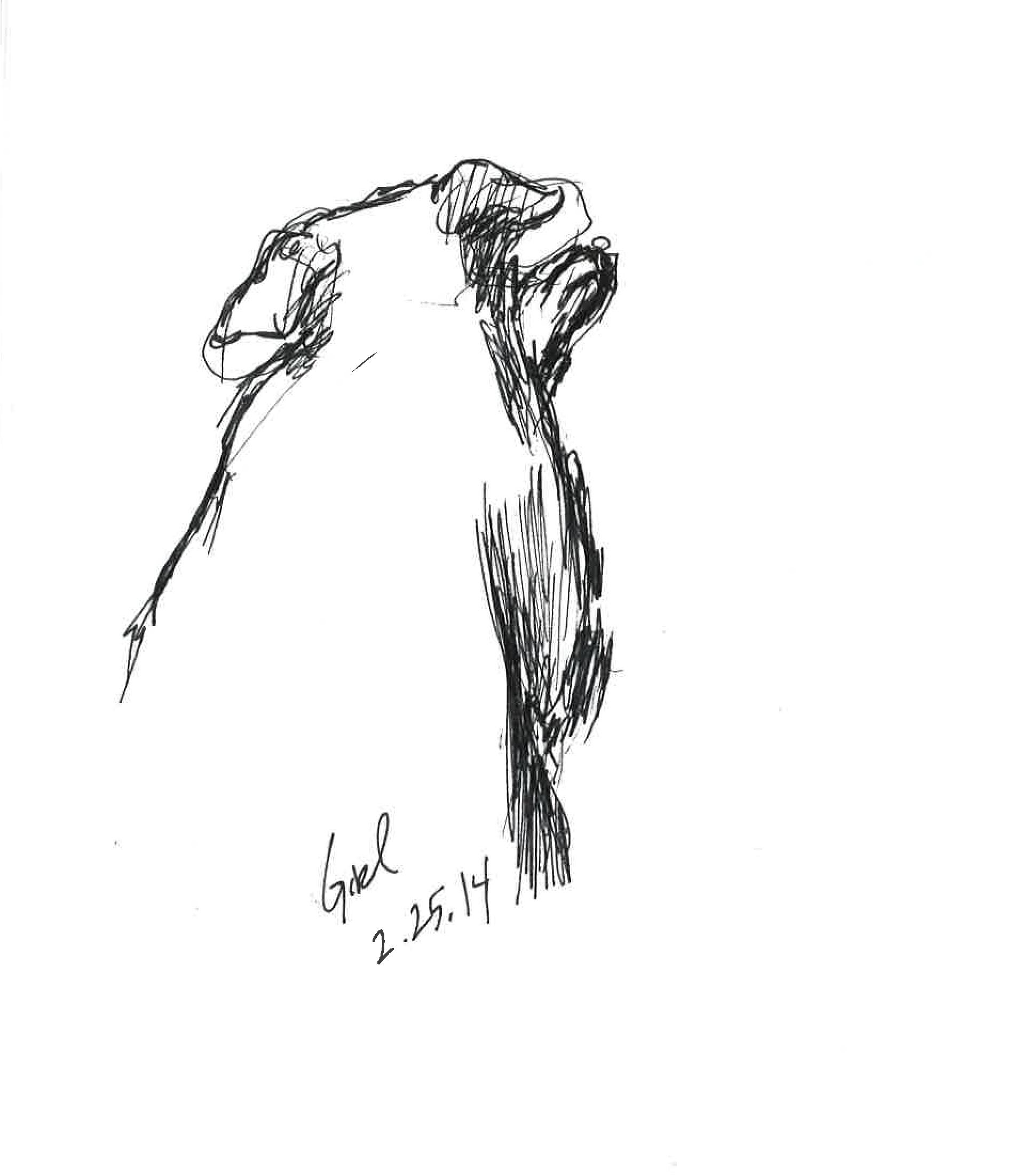 """Baby Girl  February 2014 pen on paper 4""""x6"""""""