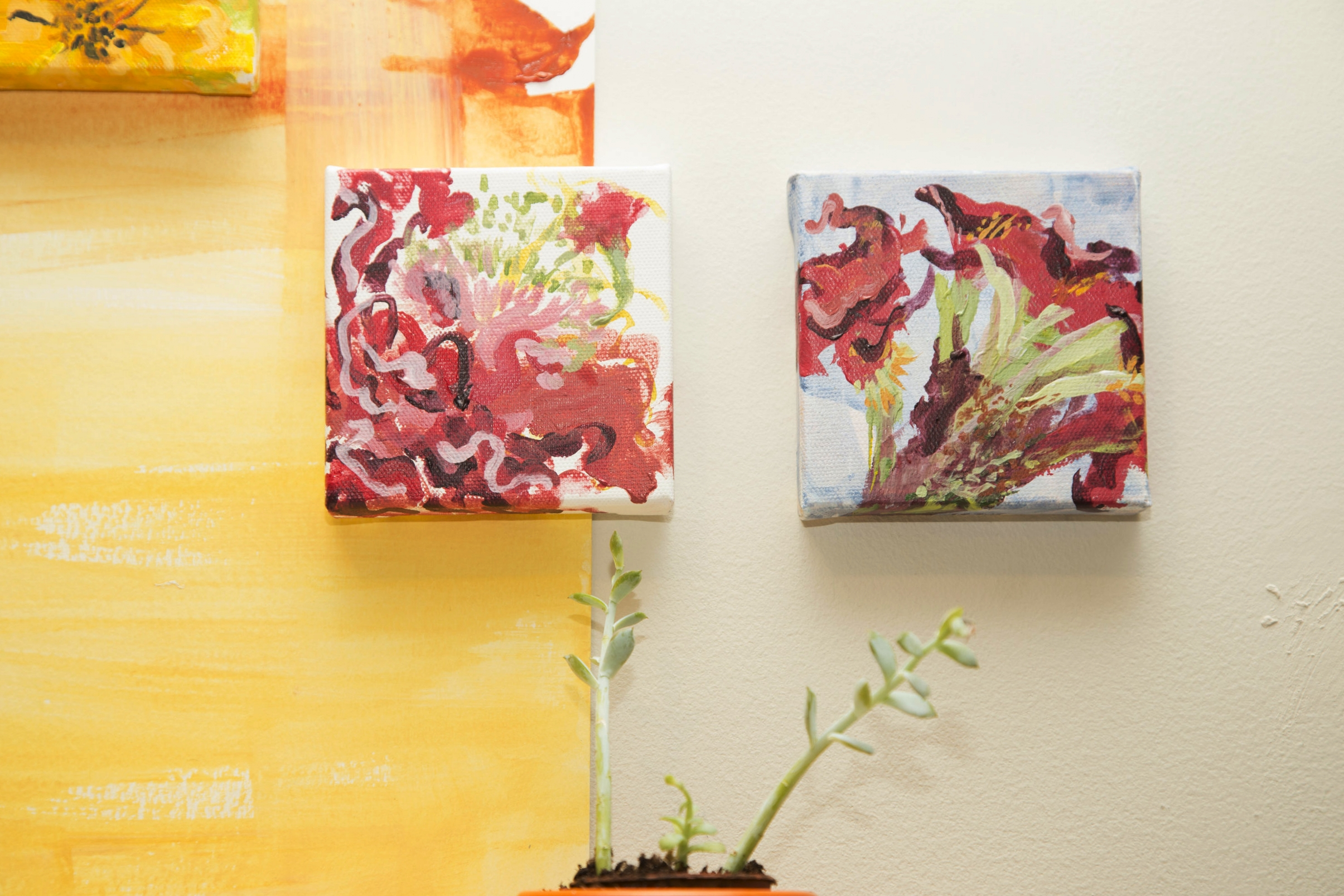 "left:  Coxcomb  right:  Coxcomb on Blue  2015 Acrylic on canvas 4""x4""  photo credit: Erin Henry"