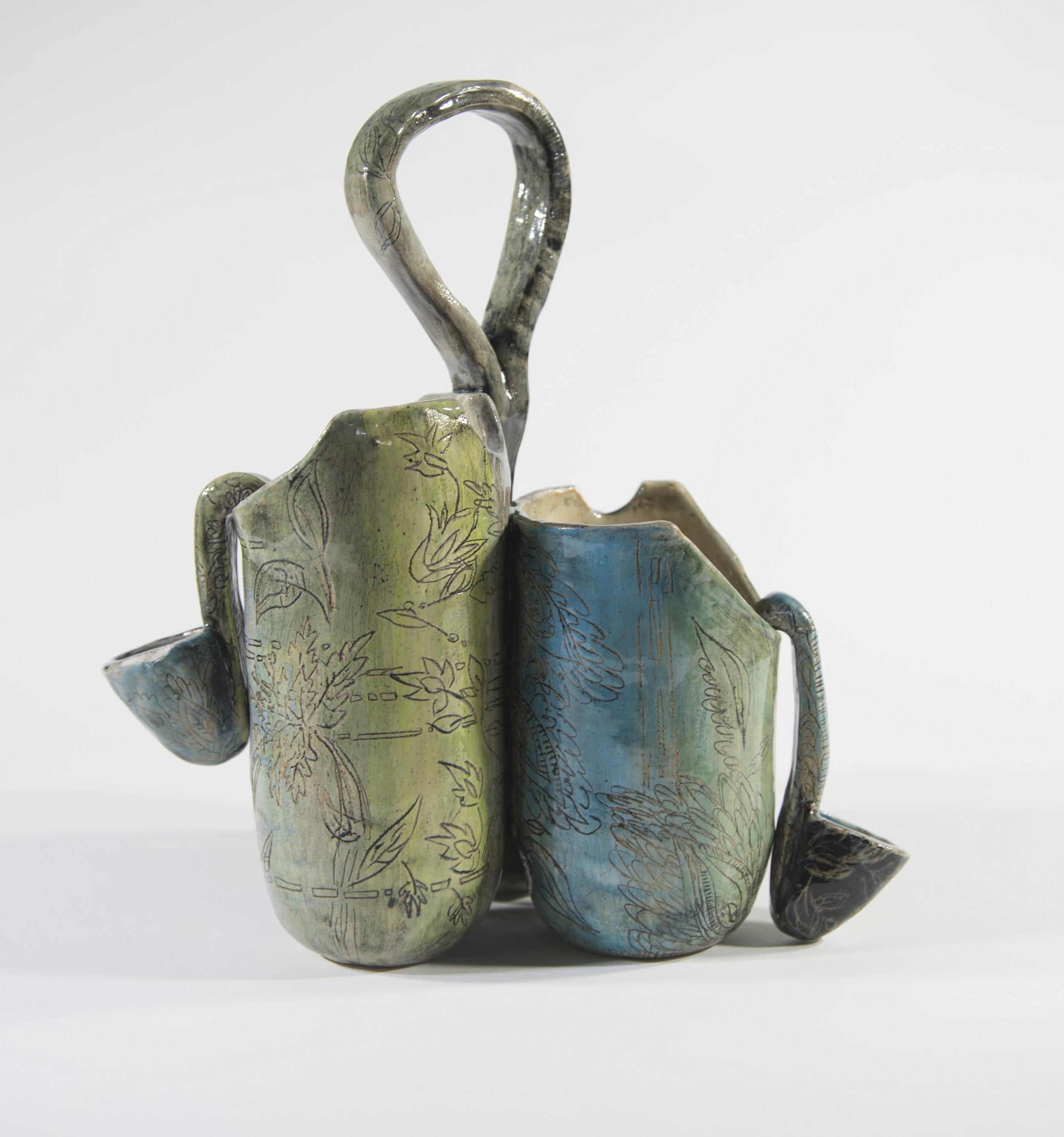 "Onam Serving Vessel   2018 Glazed ceramic 11""h x 7""w x 20""d"