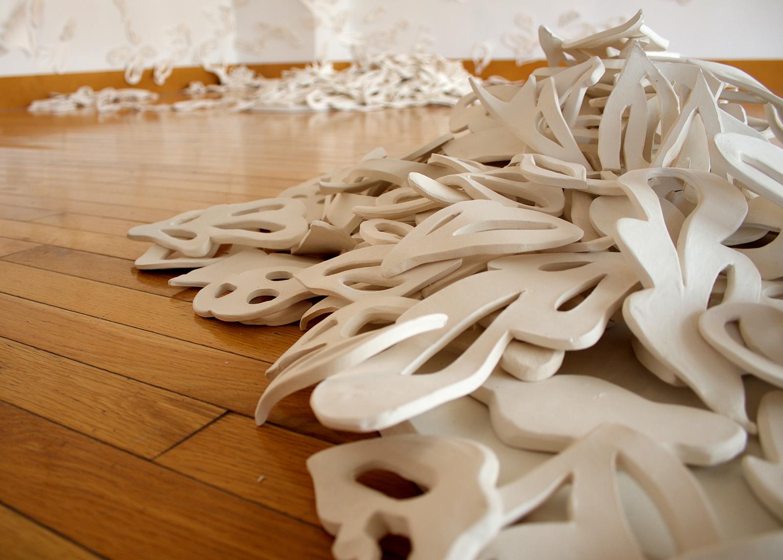 Haven,  Installation Shot Kranzberg Arts Center, Fall 2016   Unglazed white earthenware, watercolor paper, fishing line