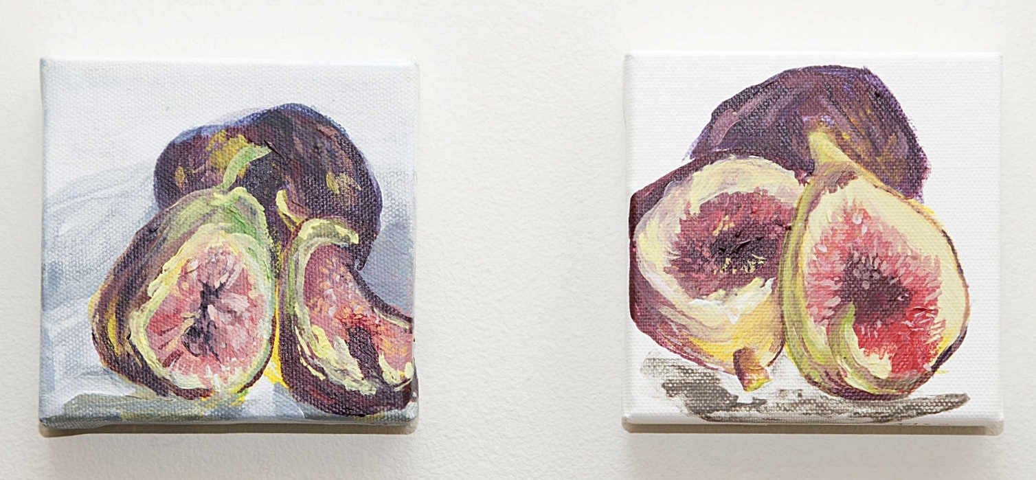 "Installation shot left:  Fig on Blue  right:  Fig Study  2015 Acrylic on canvas 4""x4""  photo credit: Erin Henry"