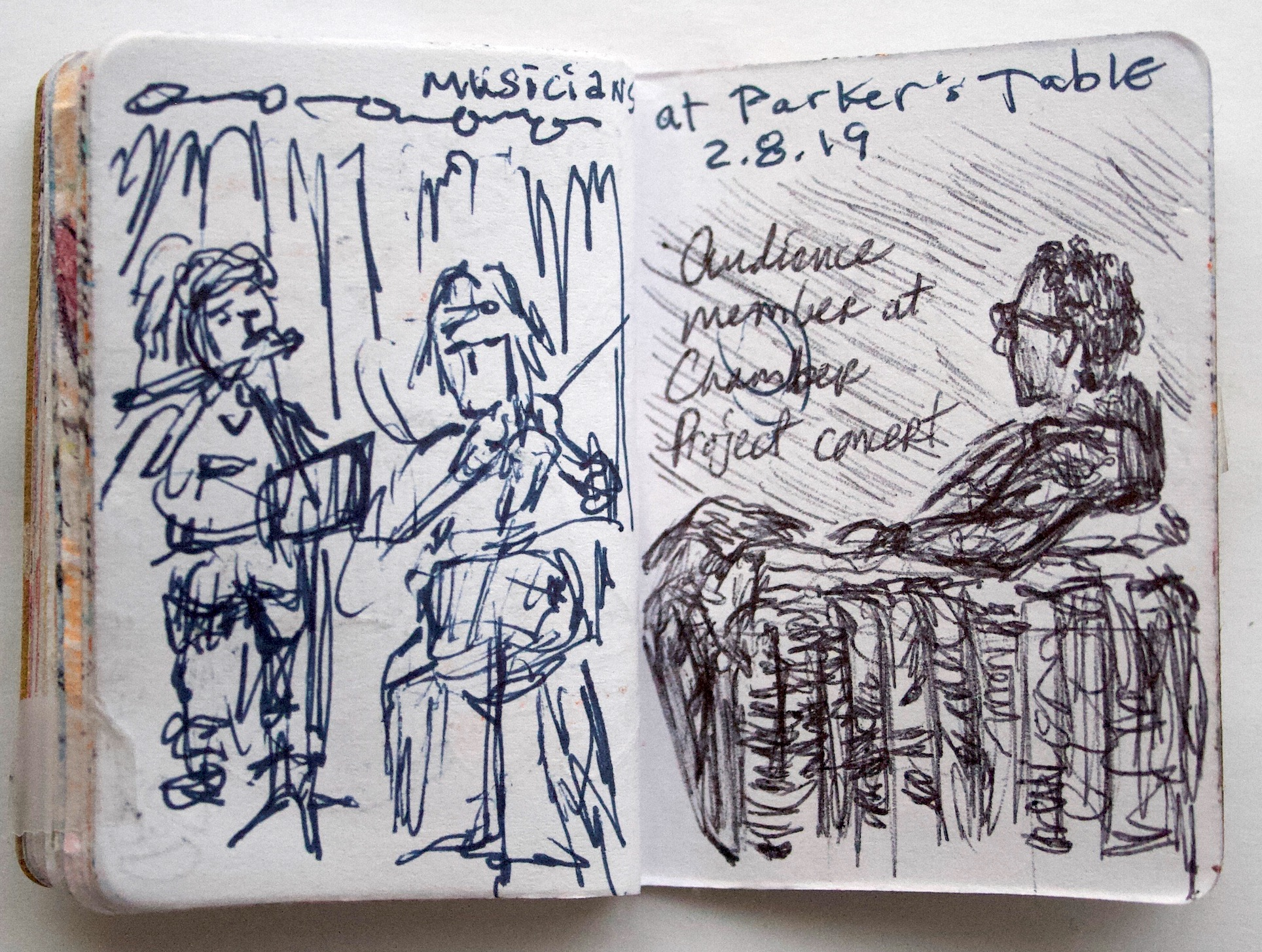 """Musicians at Parker's Table  February 2019 Pen on paper 2.33""""x3.32"""""""