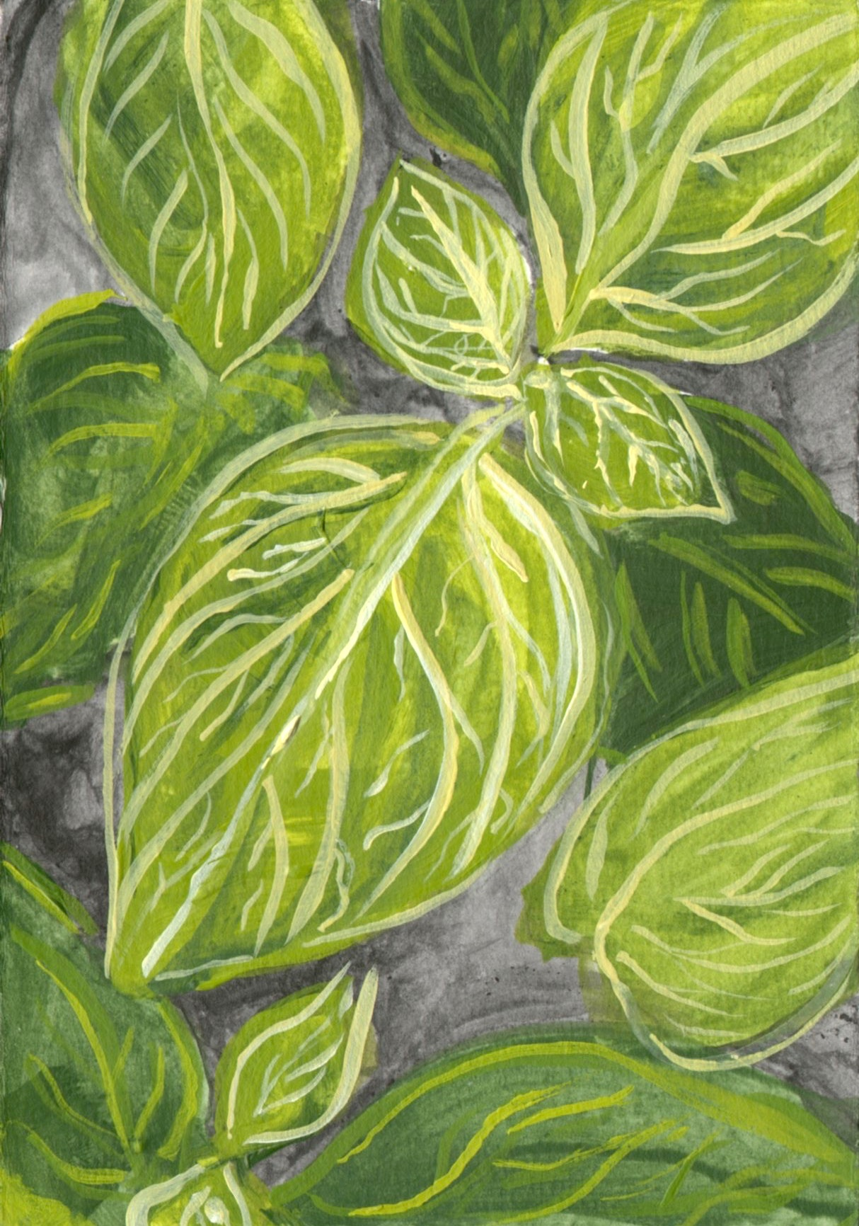 "Plant Detail  November 2014 Acrylic on paper 4""x 6"""