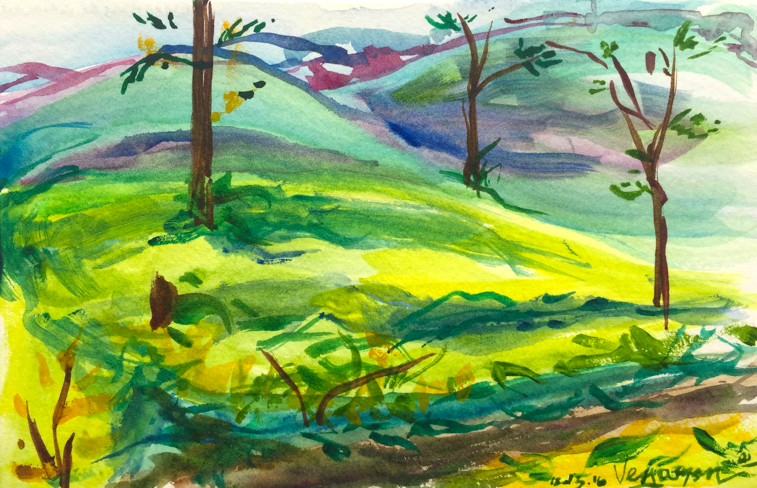 "Vagamon   December 2016  Watercolor on paper 4"" x 6"""
