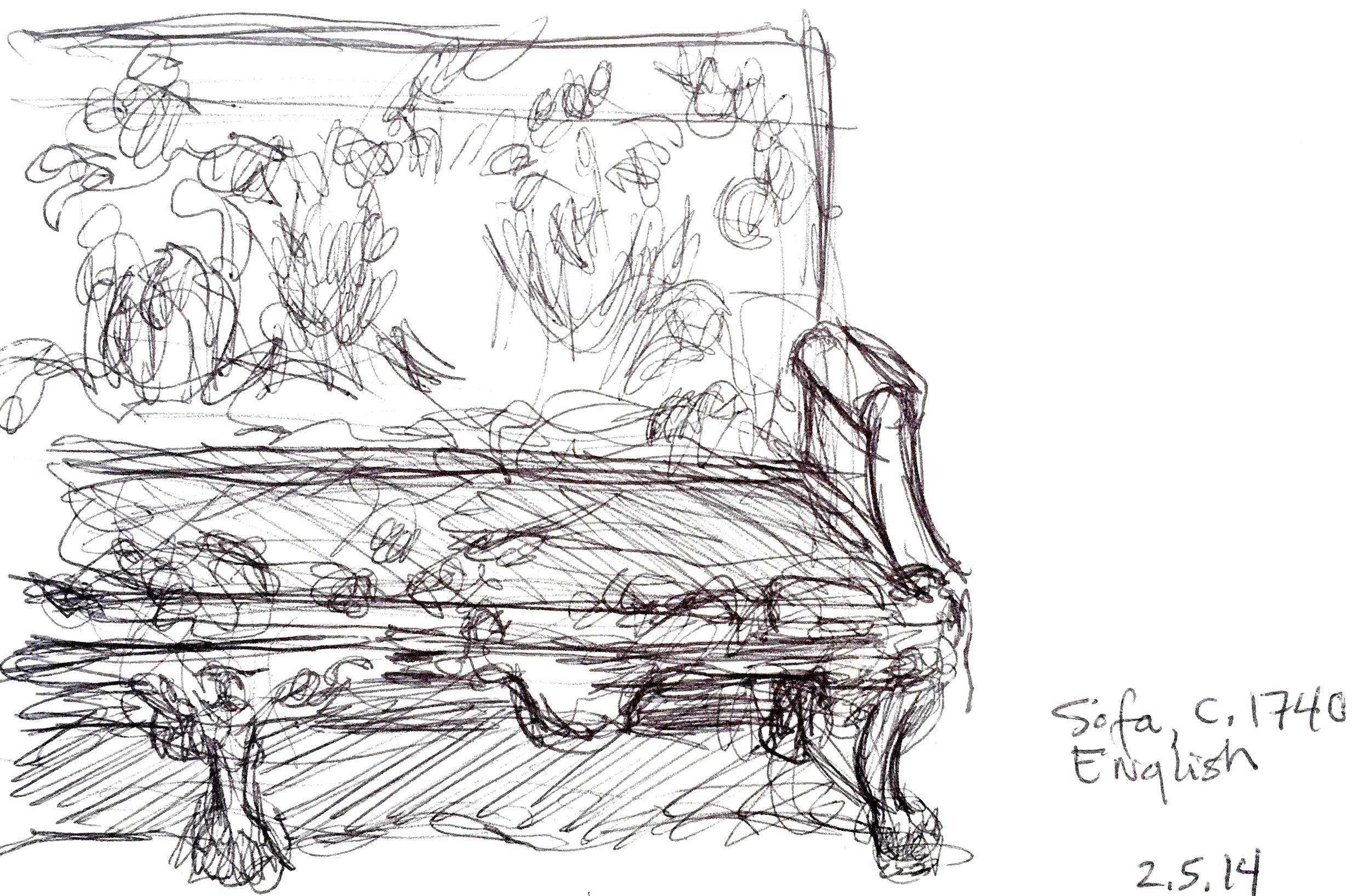 "English Sofa  February 5, 2014 Pen on paper 4"" x 6"""