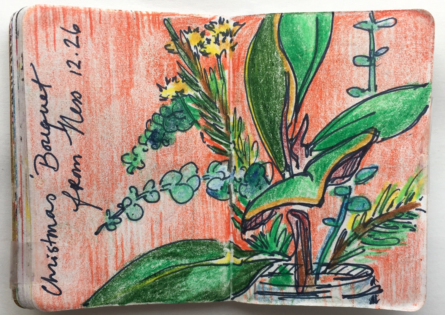"""Christmas Bouquet   December 2018 Pen and colored pencil on paper 2.33""""x3.32"""""""