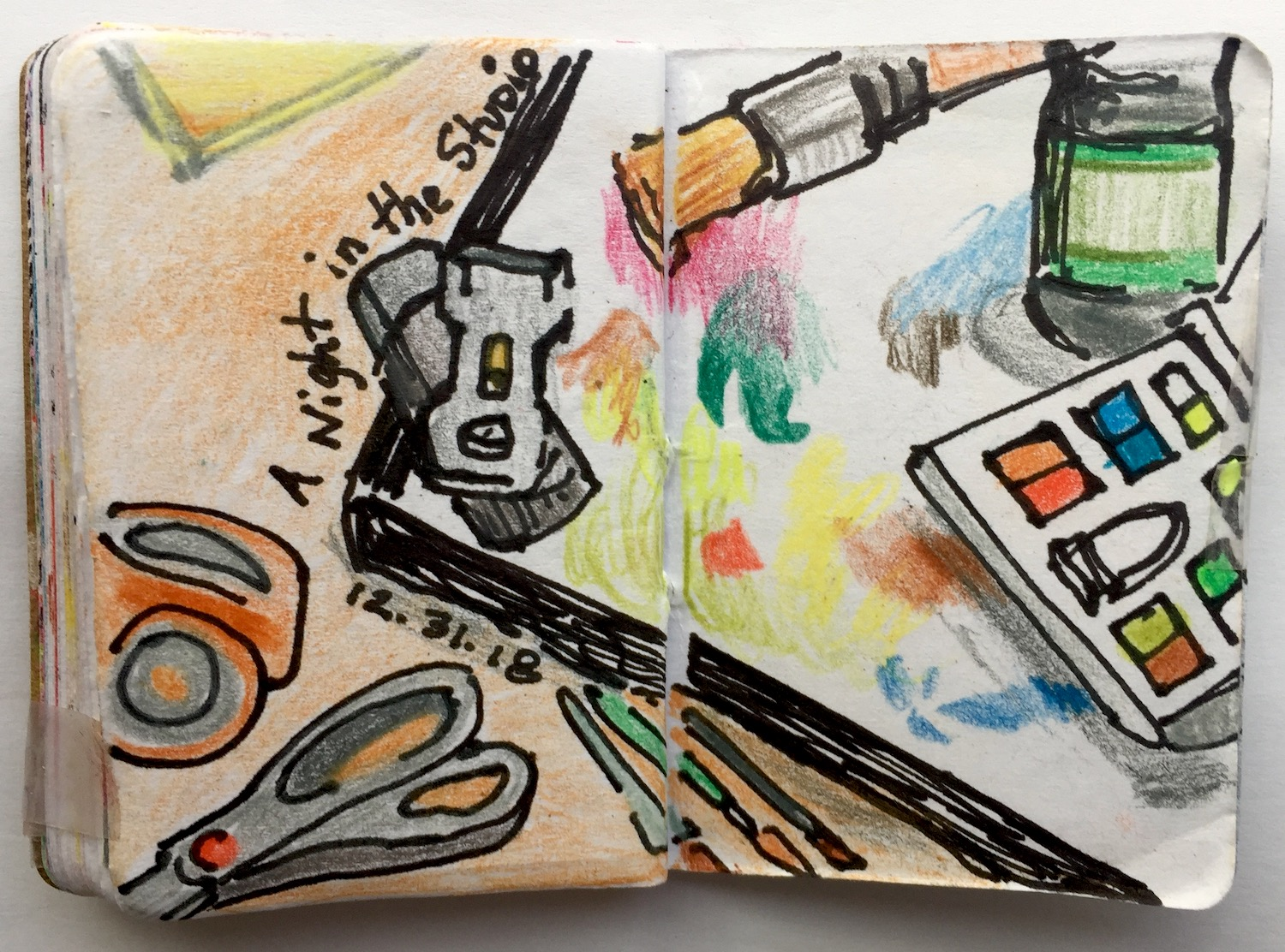 """A Night in the Studio  December 2018 Pen and colored pencil on paper 2.33""""x3.32"""""""