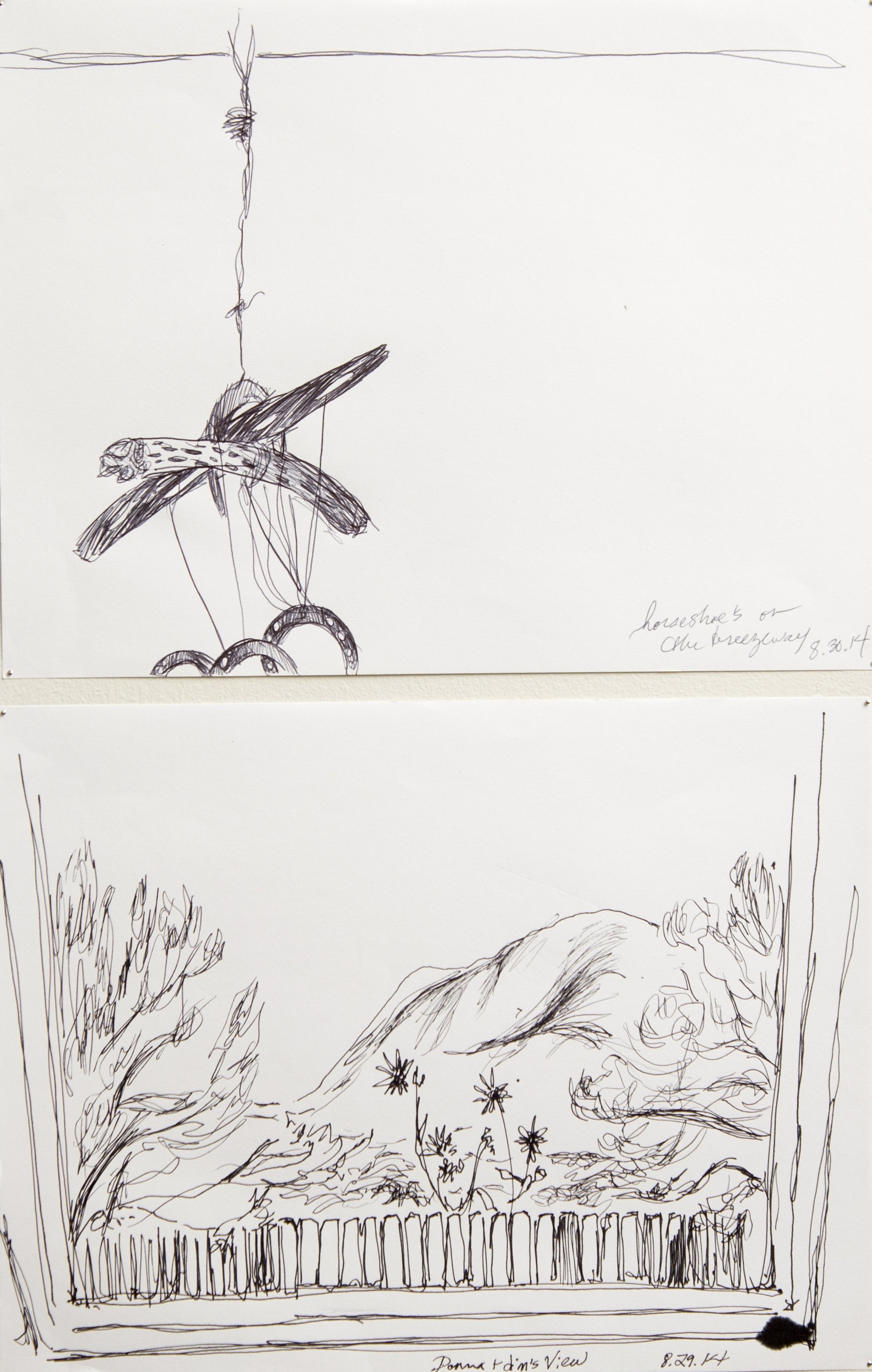 """top: On the Breezeway  2014  Pen on paper   8.5""""x11""""  bottom: The Living Room  2014 Pen on paper 8.5""""x11""""    photo credit:   Erin Henry"""