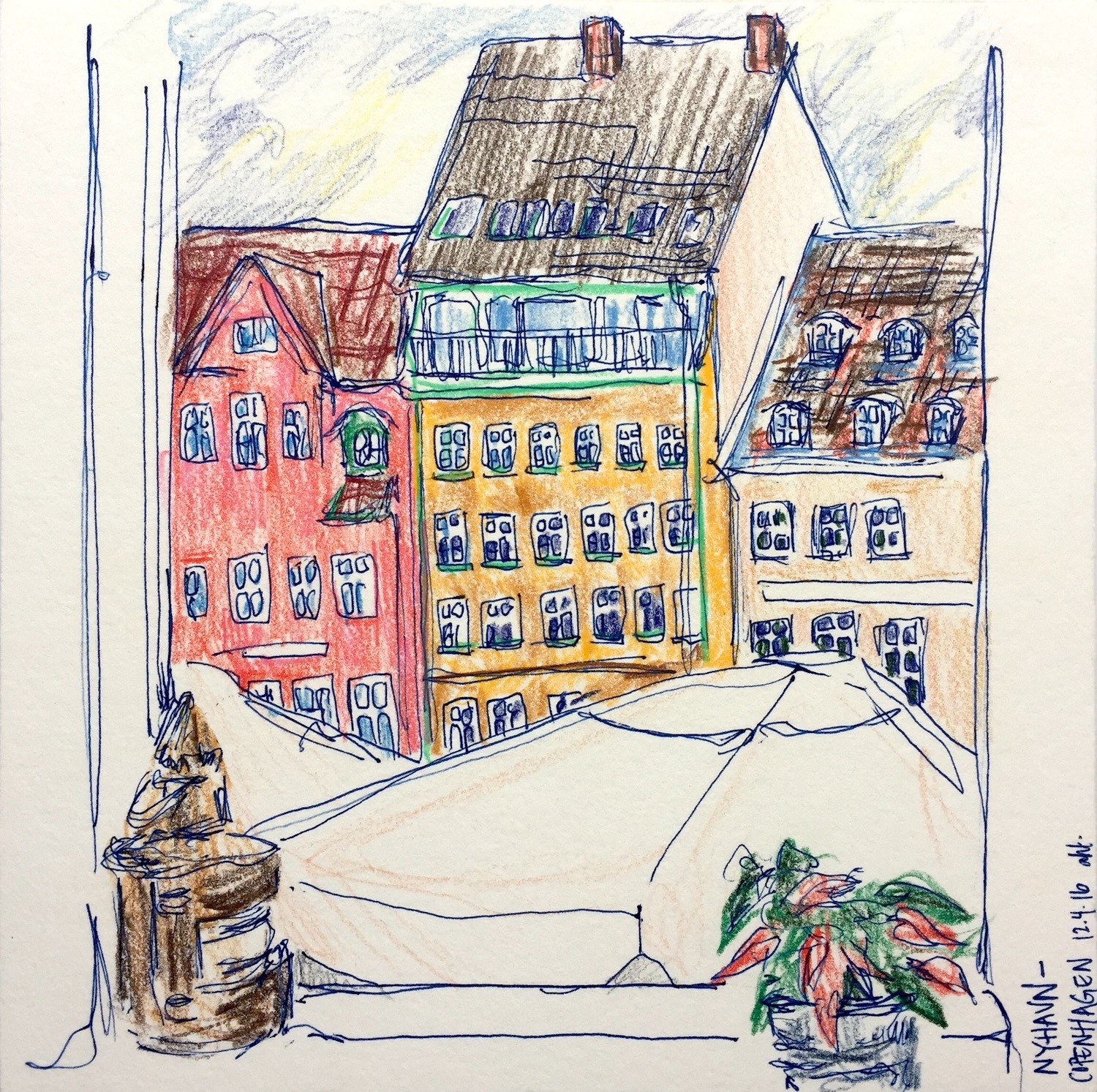 """Nyhavn  Pen and colored pencil on paper December 2016 8"""" x 8"""""""