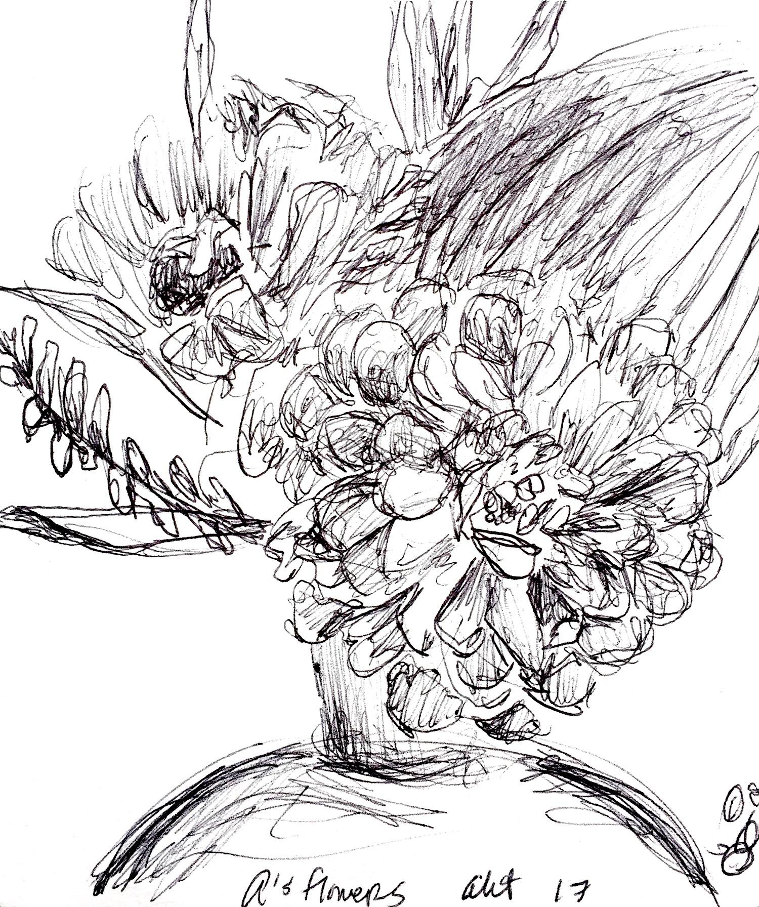 "A's Flowers  2017 Pen on paper 4.5""x5"""