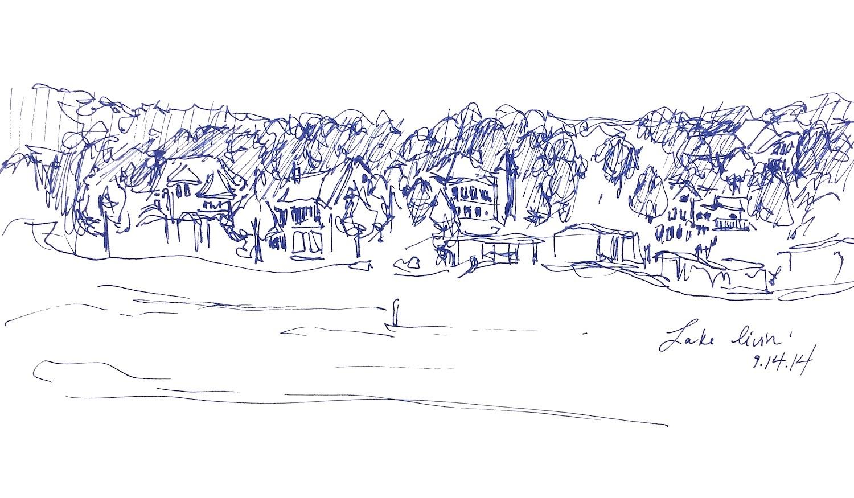 "Lake Livin'  2014 Pen on paper 6""x11"""