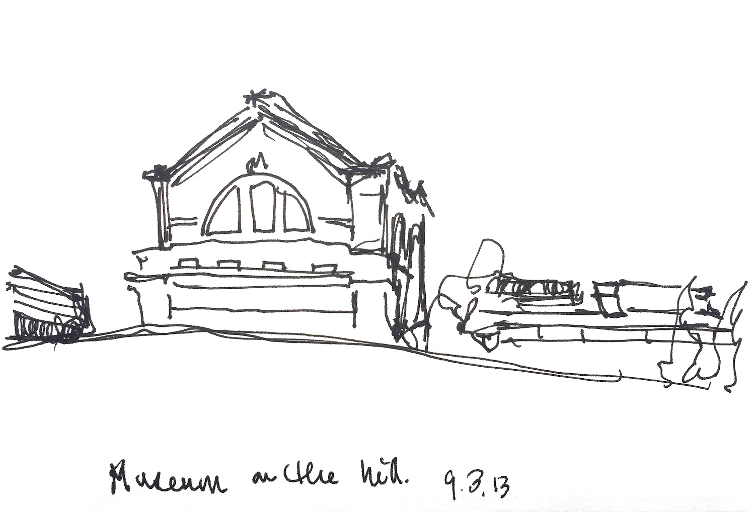"""Museum on the Hill  2013 Pen on paper 4""""x6"""""""