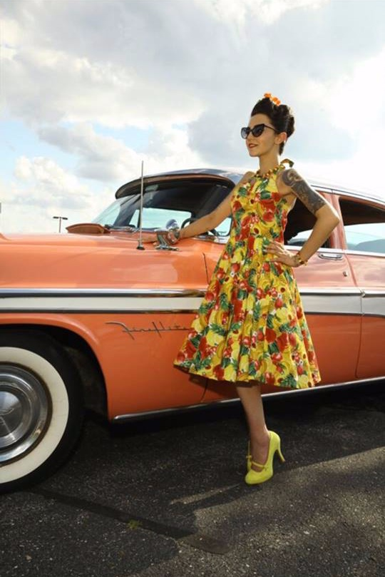Ally Oops - Vice President Photo by Roy Varga, MUAH-Frenchies  Ally Oops is a geeky, vintage loving pinup from Western MA. When she isn't in front of the camera or sewing her own retro inspired outfits, you can find her at carshow with her bright pink 1955 Desoto Fireflite.