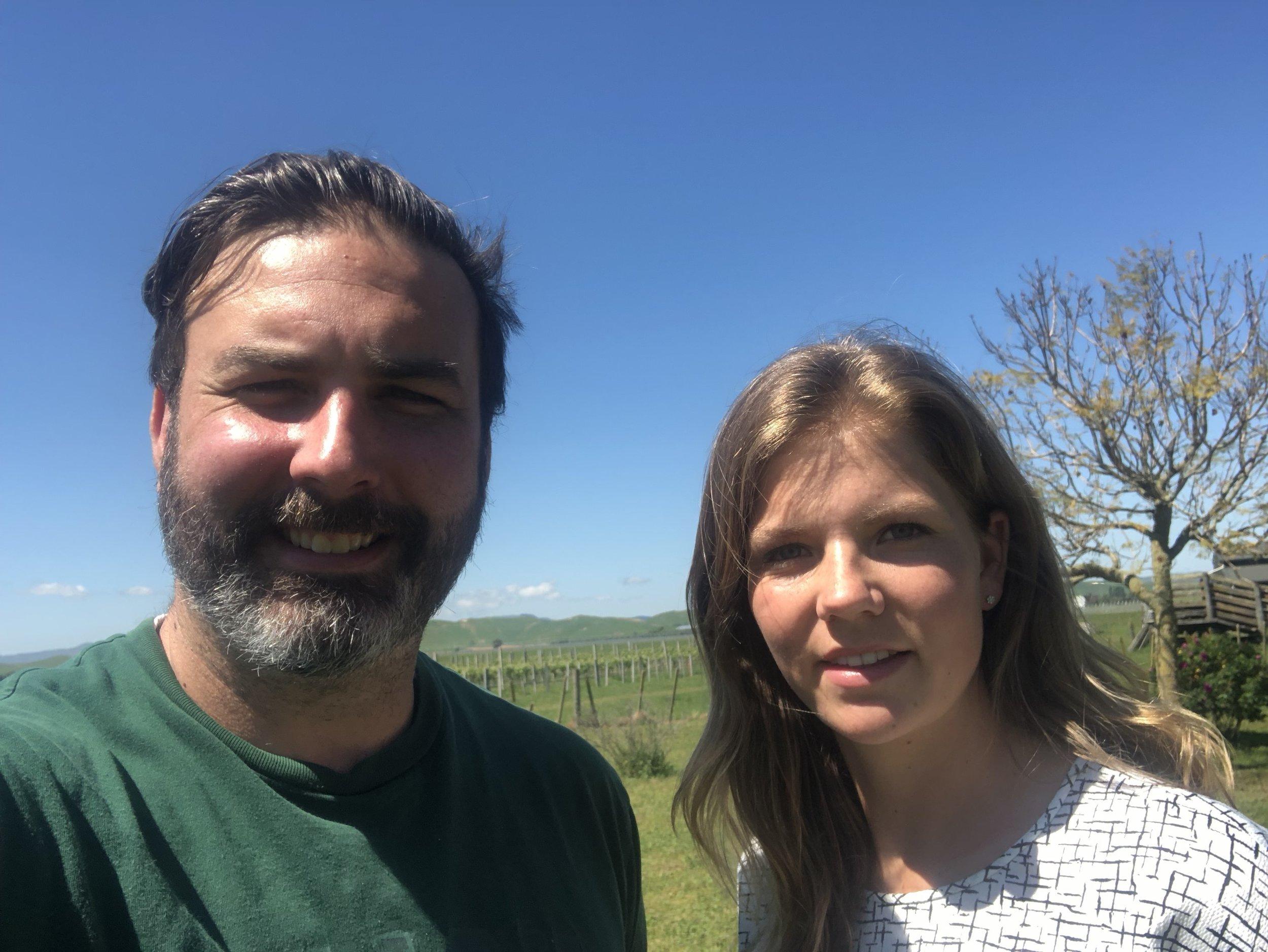 Daniel on the vineyard with Sanne Witteveen