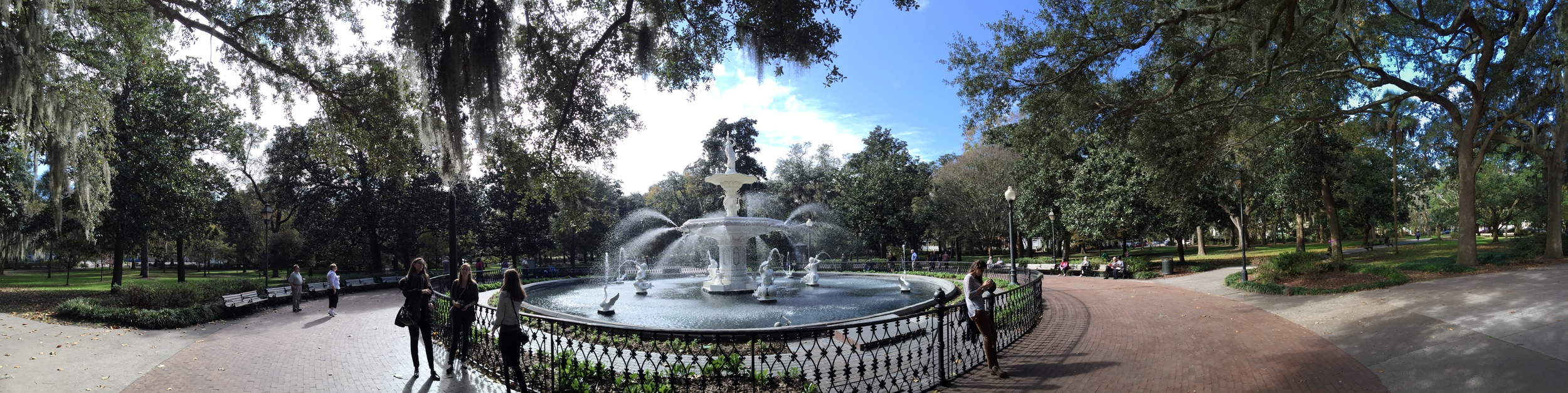 A view of the Fountain in Forsyth Park. The fountain was built in 1859 and was first seen at the World's Fair in England in 1851. There are only 4 of them in the world and this is the only one that remains intact. It represents no monumental significance, it simply exists for its own beauty. It has become the icon of Savannah.
