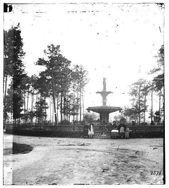 The fountain in Forsyth back in 1859.