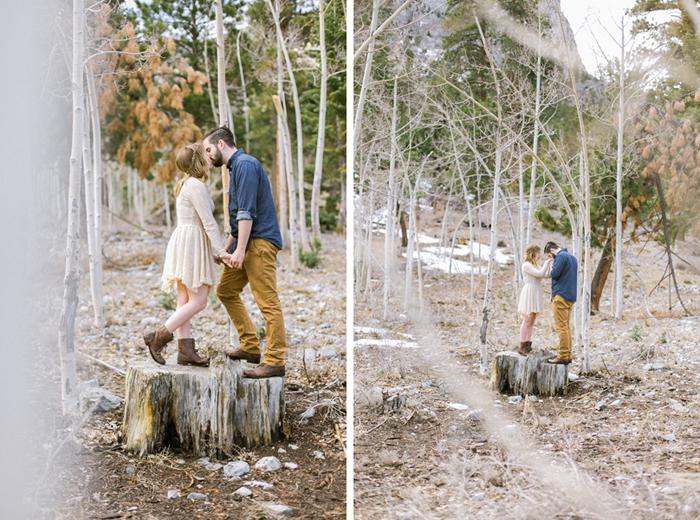 tree stump woodsy engagement session