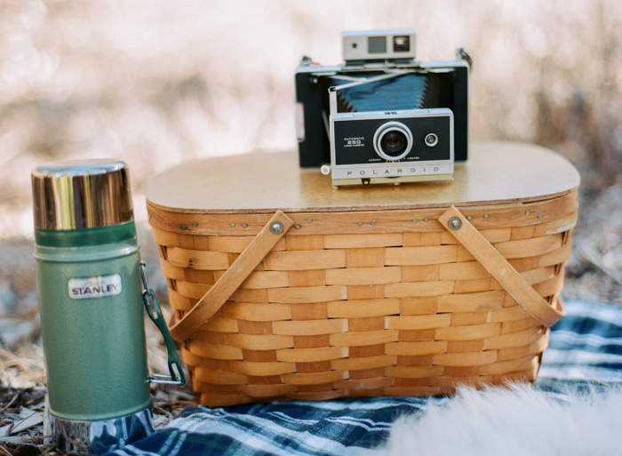 stanley thermos polaroid land camera picnic in the woods