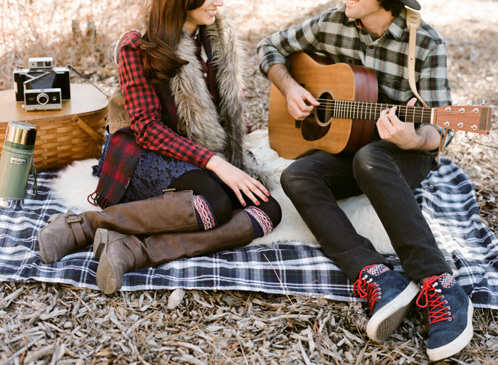 picnic in the woods and playing guitar