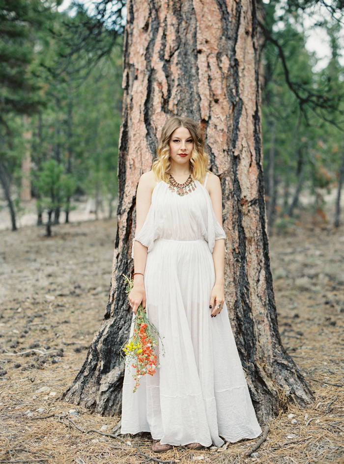 boho free people engagement dress in the forest