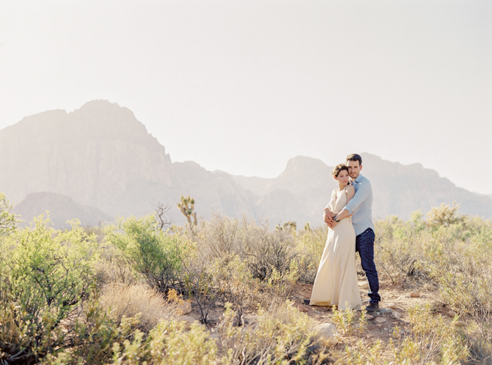 las vegas mountains engagement photo