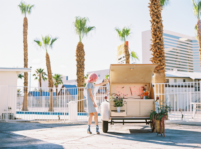 vintage las vegas pop up wedding chapel trailer