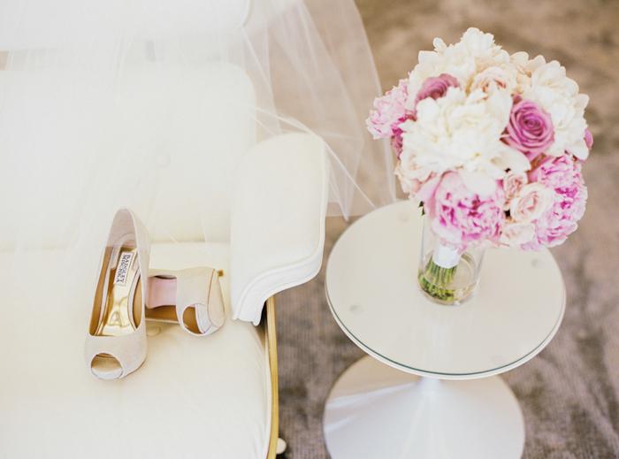 pink peonies and badgley mischka wedding shoes