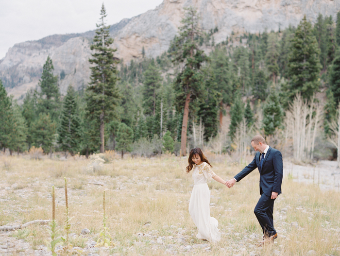 romantic vegas forest engagement photo 12