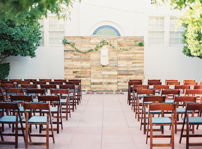 reclaimed wood boho wedding ceremony altar