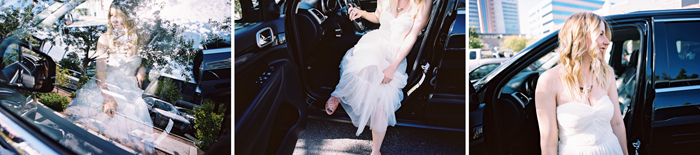 bride getting out of car photo