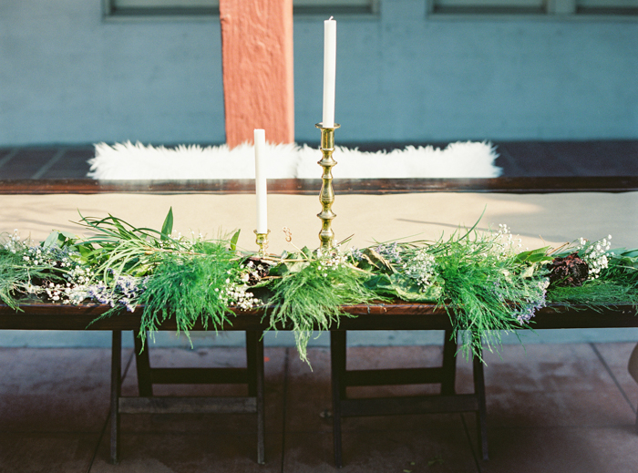 las vegas boho wedding greenery table runner