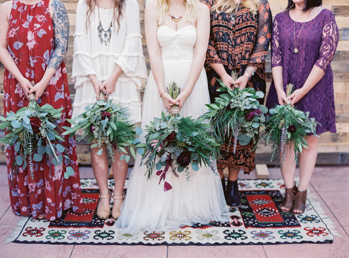 free people bhldn anthropologie wedding dress and eucalyptus bouquets