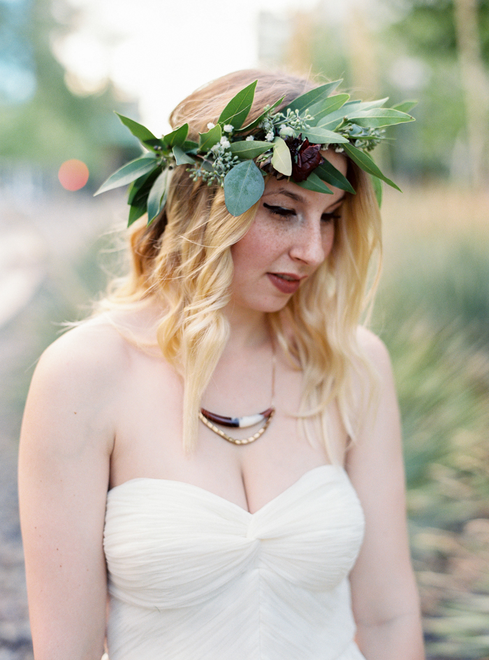 las vegas wedding with boho flower crown
