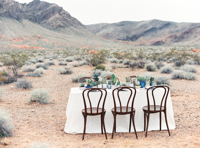 desert indigo inspired wedding tablescape with cactus valley of fire
